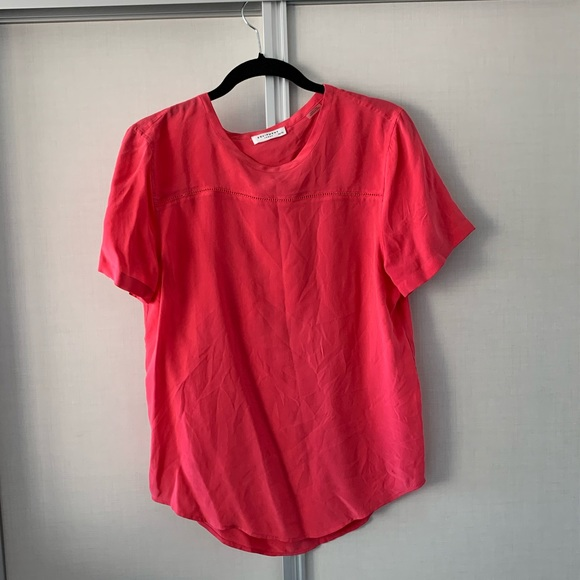 Equipment pink silk t-shirt with cut out detail